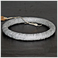Narrow Silver Winter Metallic Fabric Bangle