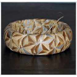 Ivory Stars Winter Metallic Fabric Bangle