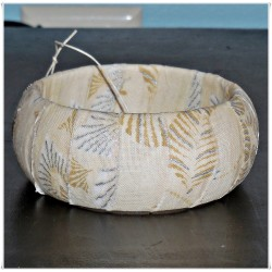Cream and Silver Metallic Fabric Bangle