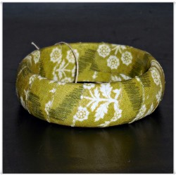 Olive Green and Cream Floral Fabric Bangle
