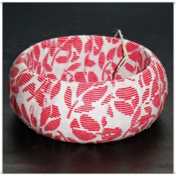 Red Stripe Floral Fabric Bangle
