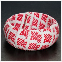 Red Square Floral Fabric Bangle