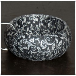 Black and Silver Metallic Fabric Bangle
