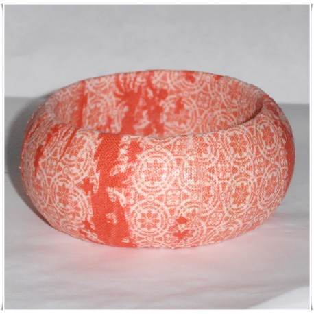 Coral and White Scroll Fabric Bangle