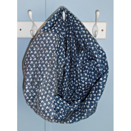 Blue Floral Infinity Scarf with Tulle