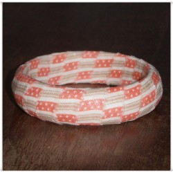Coral Bermuda Ticking California Girl Fabric Bangle